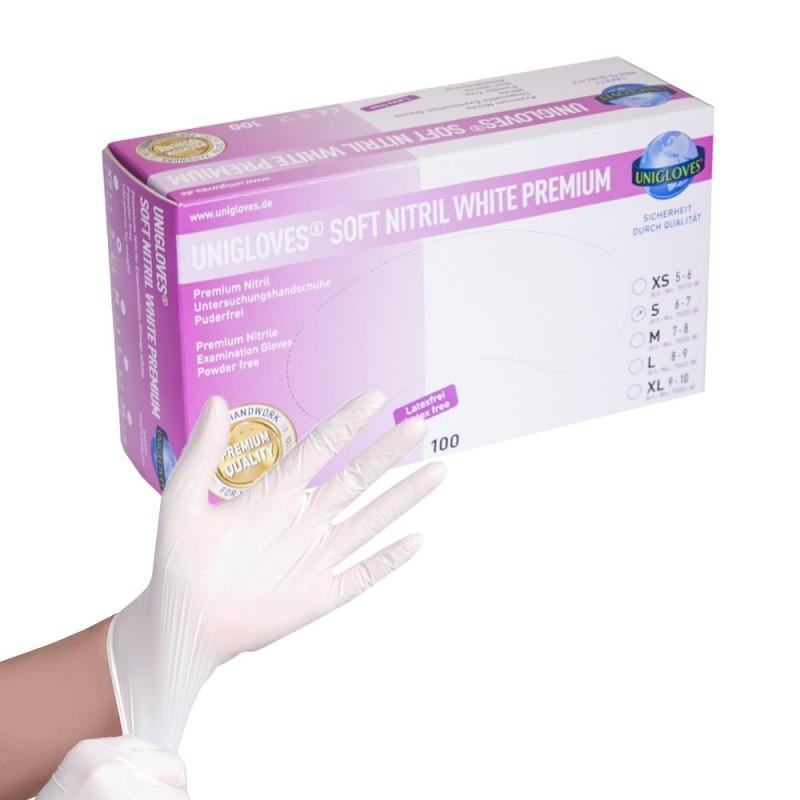SOFT NITRIL WHITE PREMIUM gloves (XS - S)