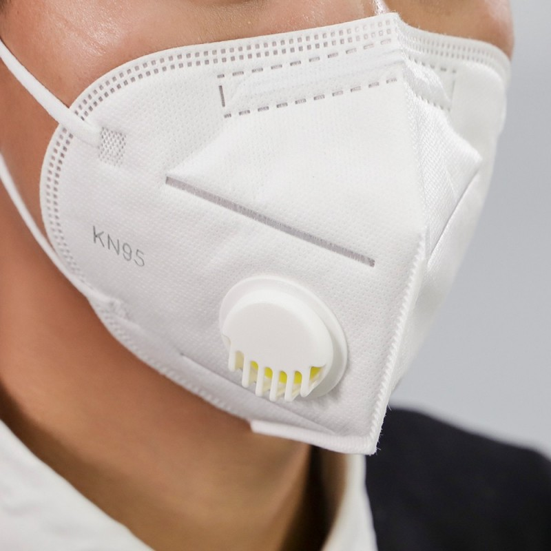 Protective face mask - respirator with valve 4 layers KN95/FFP2  1pcs.
