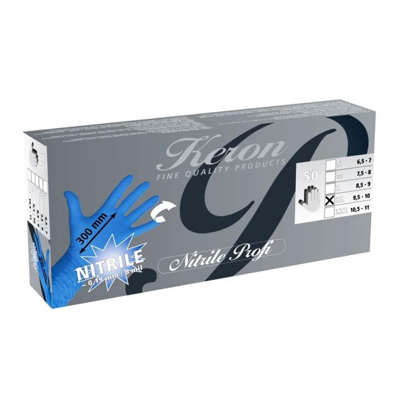 Industrial nitrile gloves KERON, blue, 50 pcs. (S - L - XL - XXL)