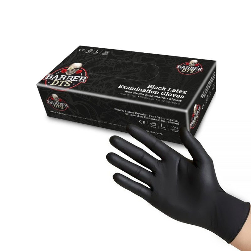 Black latex examination gloves 100pcs. (S -M -L)