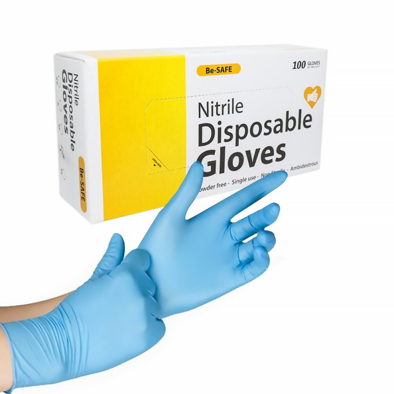 Be-Safe Disposable nitrile gloves 100 pcs ( S - M - L - XL)
