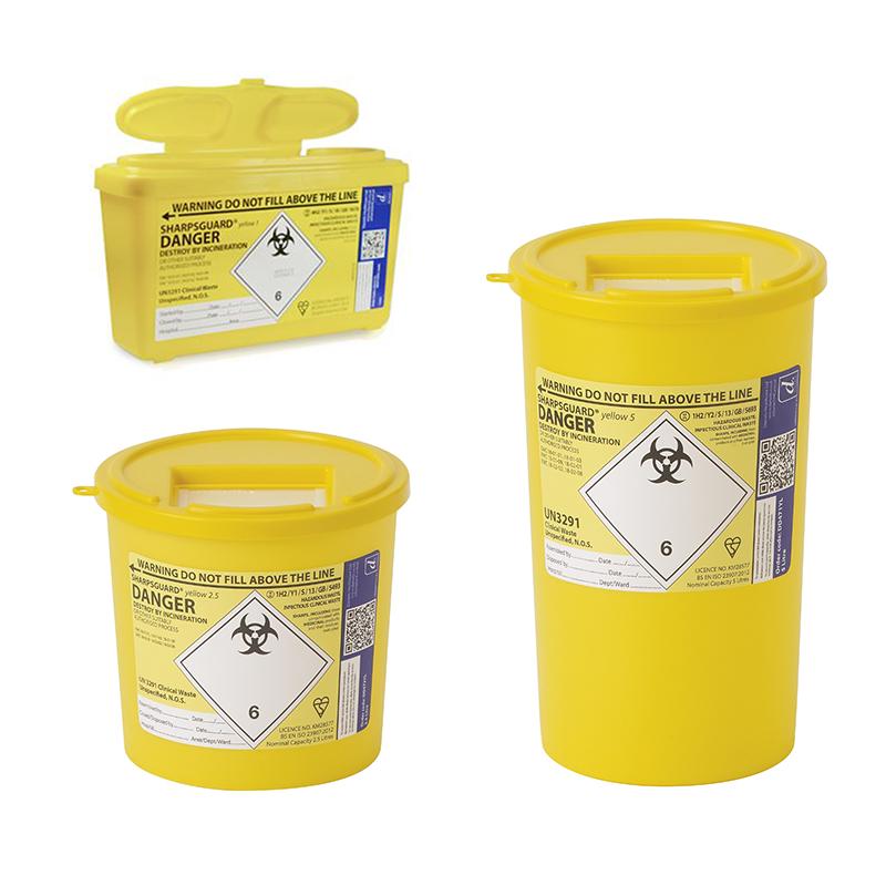 Sharpsguard universālais klīnisko atkritumu konteiners (1L, 2,5L, -5L)