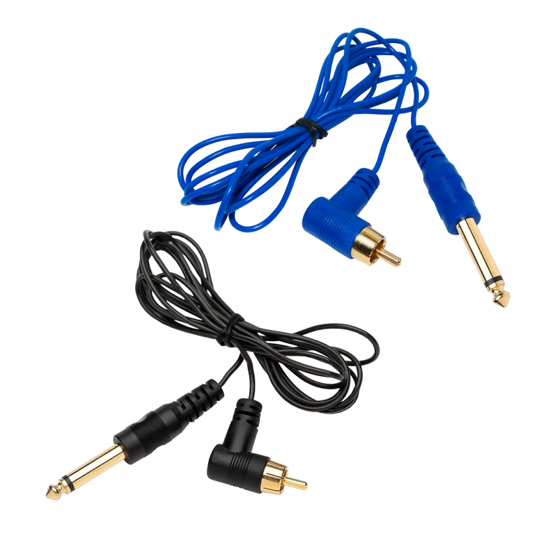 Thin RCA Cord Right Angle 1 pcs. (Blue / Black)