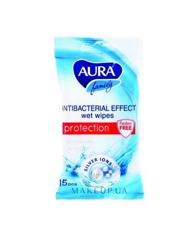 Aura Antibacterial Effect Wet Wipes 15 pcs.